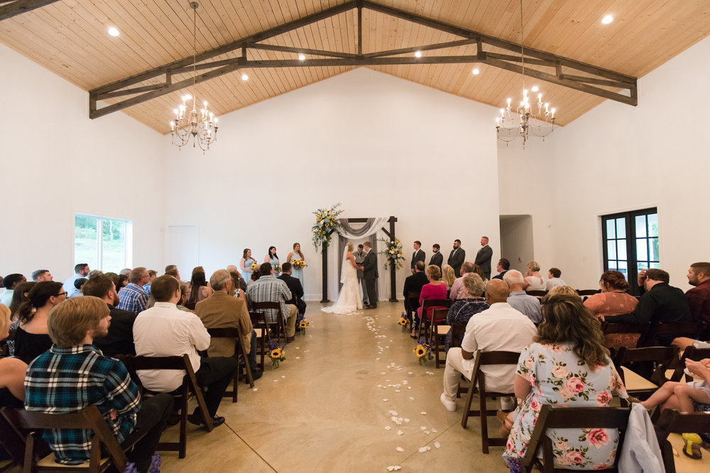 Indoor Ceremony White Walls Wedding Venue