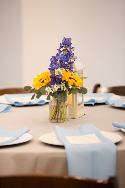 Sky Blue Linen Napkins Wedding Reception