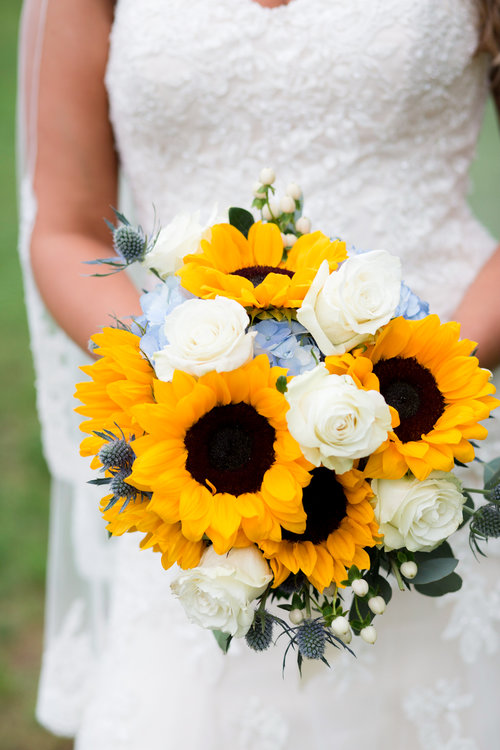 Sunflower and White Roses bridal bouquet