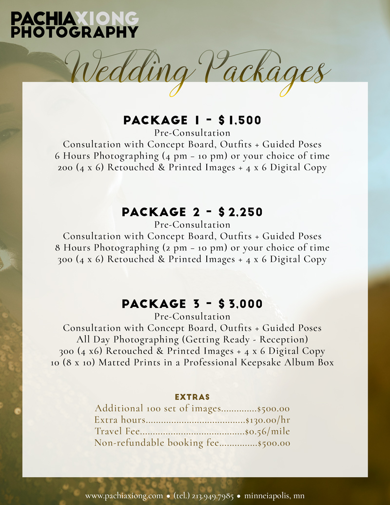 Wedding Packages - We offer three friendly wedding packages to choose from. Please view all bundles and extra information while considering us. We understand each wedding is different and we strive to achieve what you're looking for.For any wedding packages questions, please contact us.