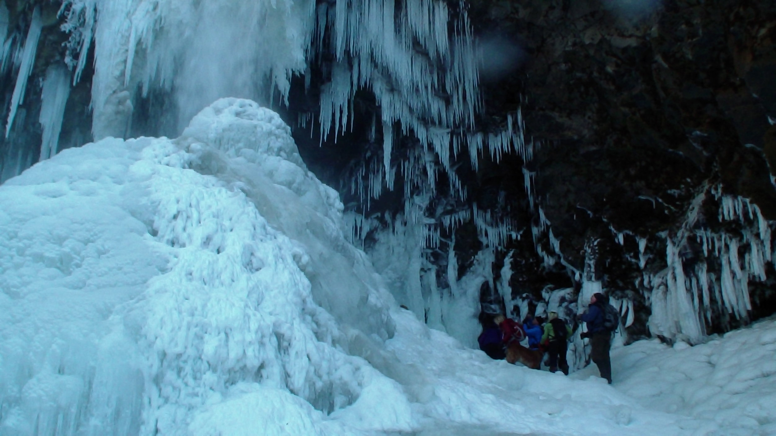 The group gathered for photos at the base of the falls.