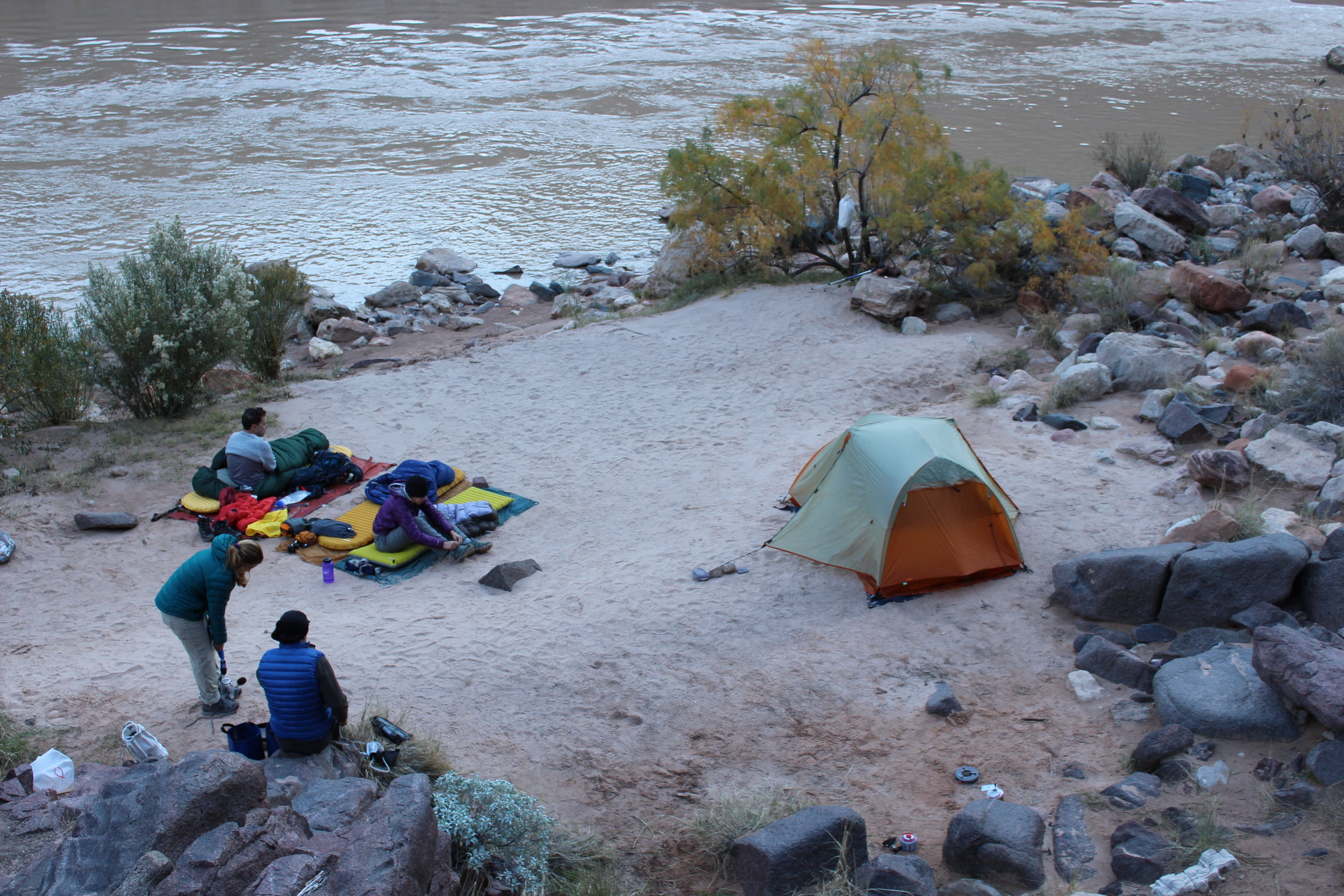 Our little camp by the river.