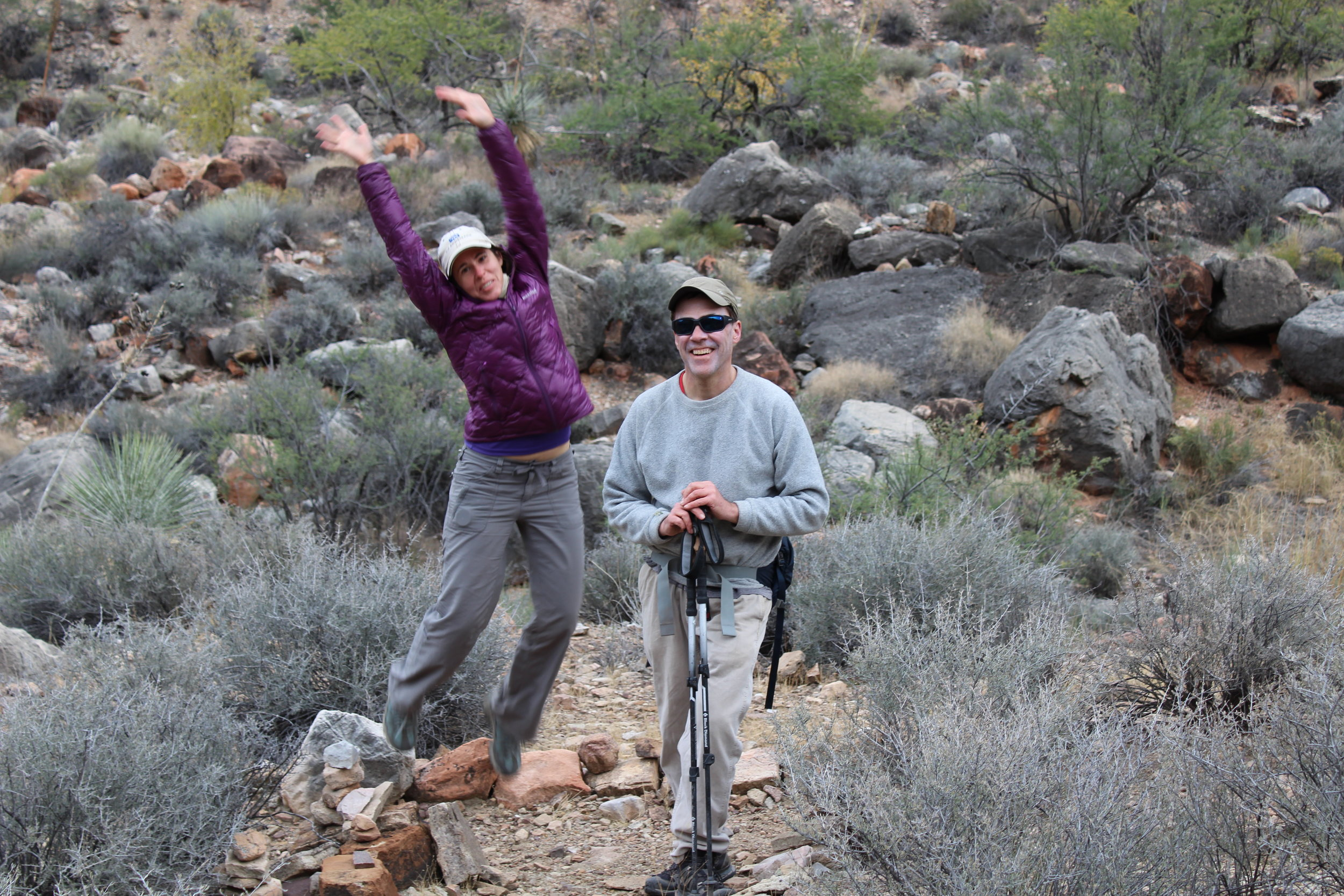Tory helps Jim celebrate his completion of the Tonto Trail