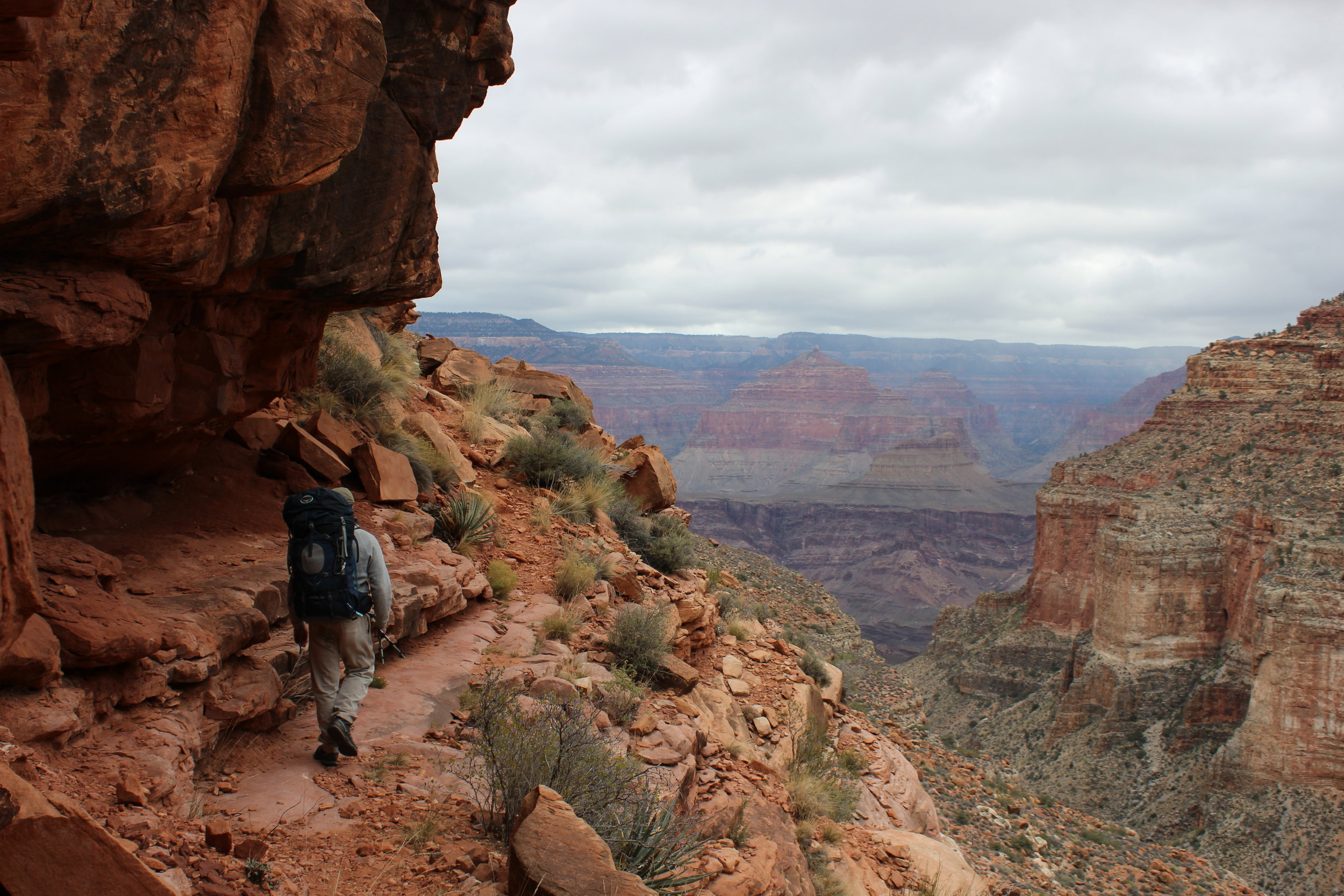Jim makes his way through a shelter in the Supai.