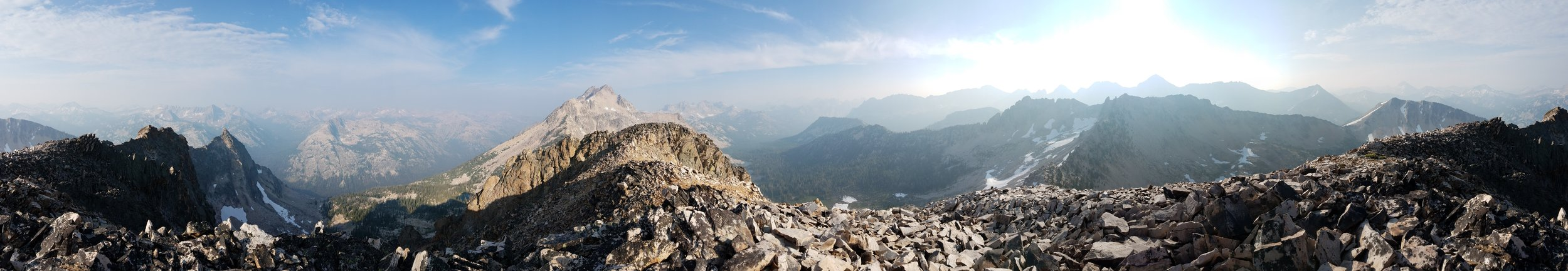 Panorama from the top of Peak 10,060. Nothing but wilderness. North is approximately dead center, looking down Redfish Lake Creek. Click for a larger image.