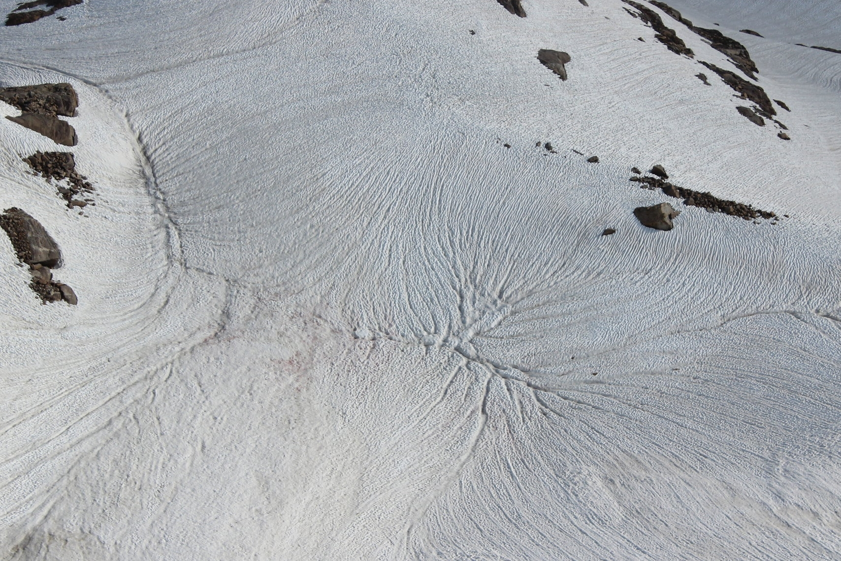 Fascinating snow melt patterns in the valley below Ruby Dome