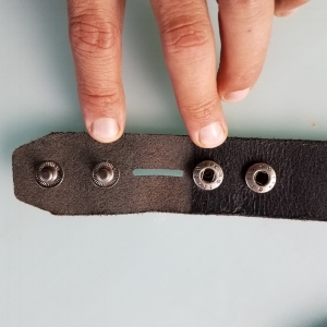 Example of open belt strap ready to receive your new buckle.