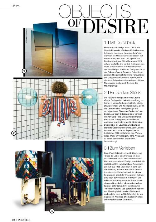 """PRESTIGE Magazine Austria: """"Die Super Strong Lamp des Labels Doris Darling hat das Zeug zur Ikone..."""""""