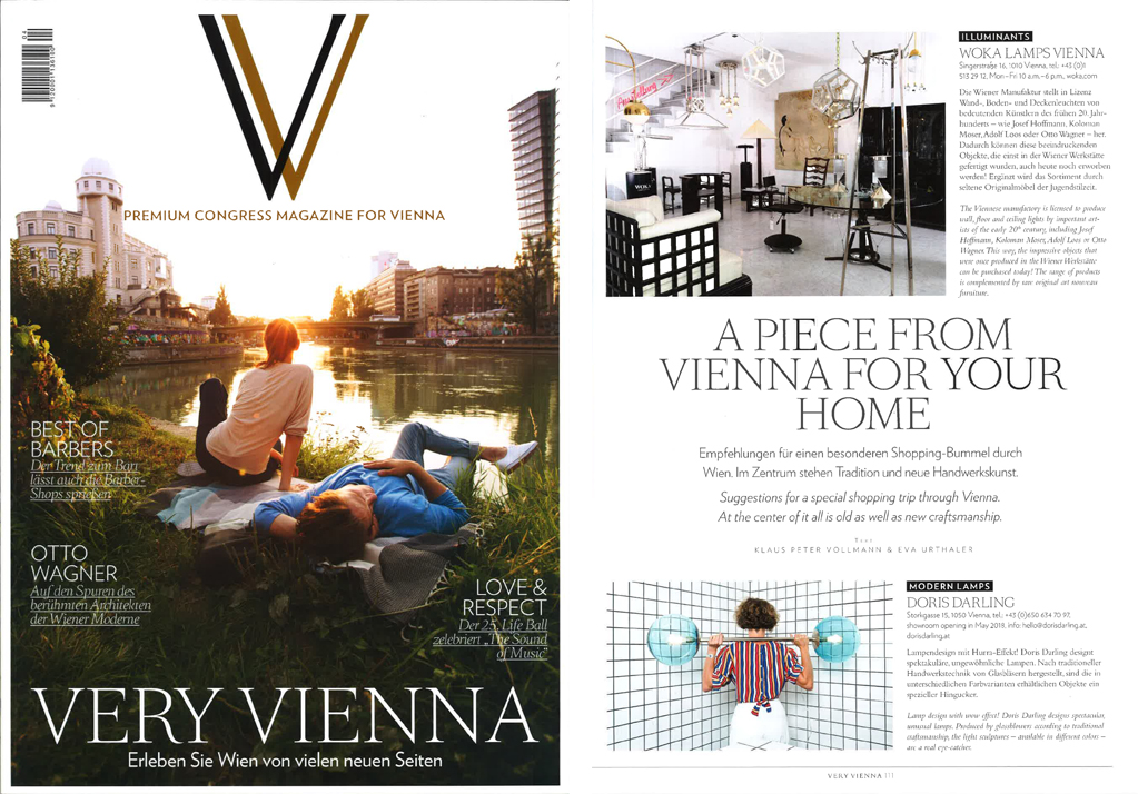 "Very Vienna Magazine 2018: ""Suggestions for a special shopping trip through Vienna. At the center of it all is old as well as a new craftmanship… DORIS DARLING. Lamp design with wow effect! Doris Darling designs spectacular unusual lamps. Produced by glassblowers according to traditional craftmanship, the light sculptures - available in different colours - are a real eye - catcher."""