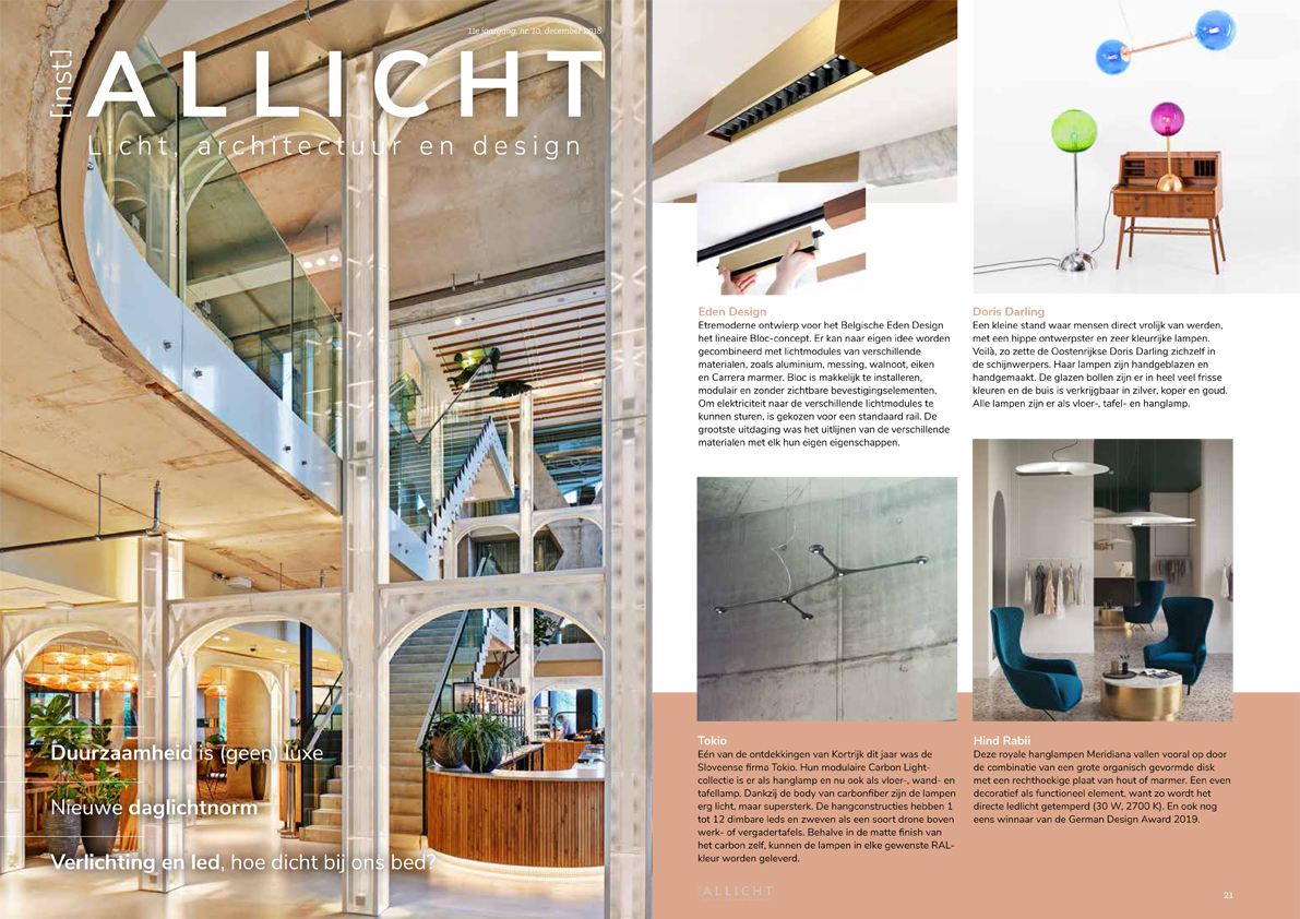 Thank you Allicht Magazine about presenting Doris Darling as one of the most interesting lights at the Biennale Interieur 2018 in Kortrijk, Belgium.