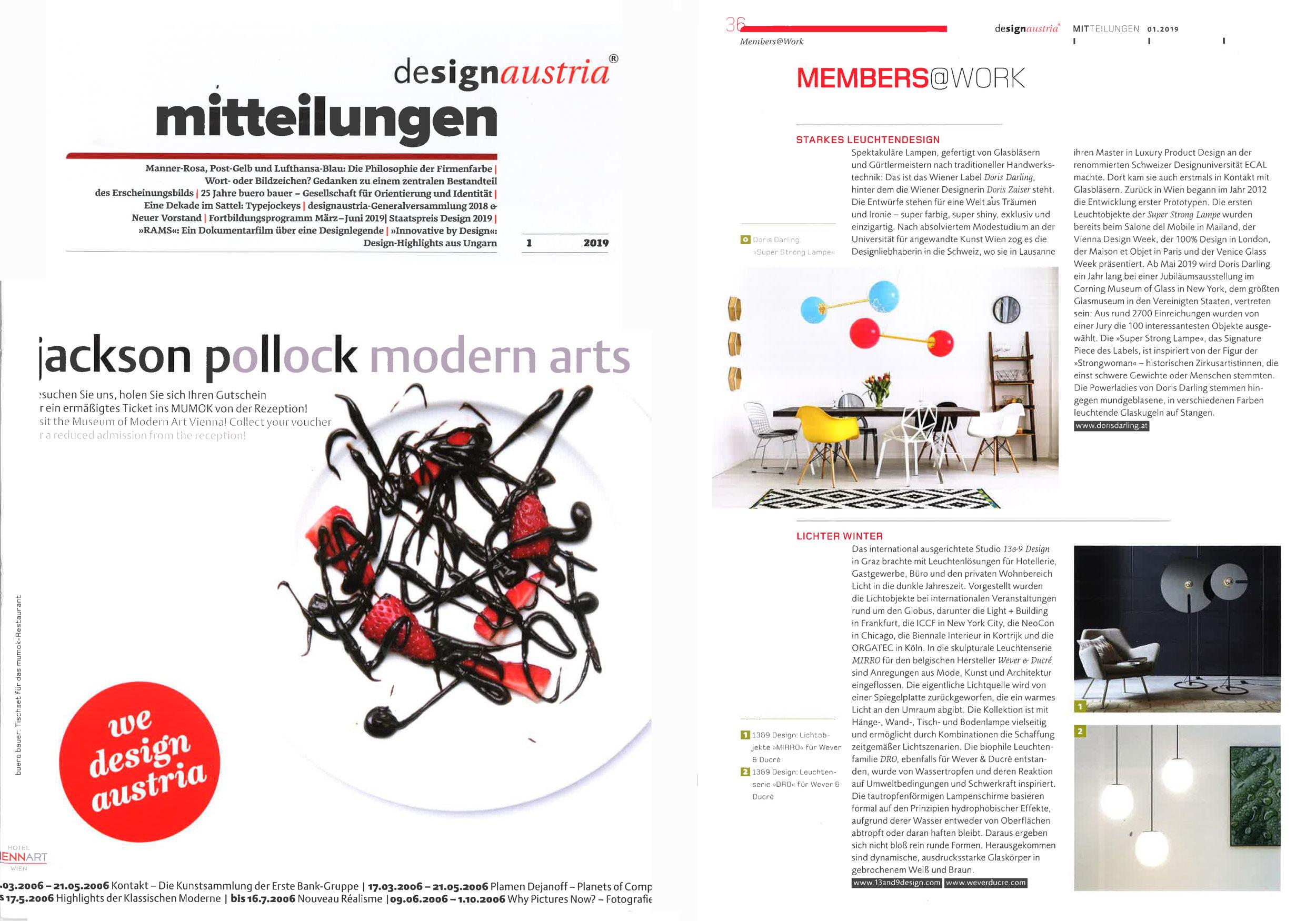 """Design Austria Magazine, MEMBERS@WORK: """"Starkes Leuchtendesign: ….Ab Mai 2019 wird Doris Darling ein jahr lang bei einer Jubiläumsausstellung im Corning Museum of Glass in New York, dem größten Glasmuseum in den Vereinigten Staaten, vertreten sein…"""" :-)"""