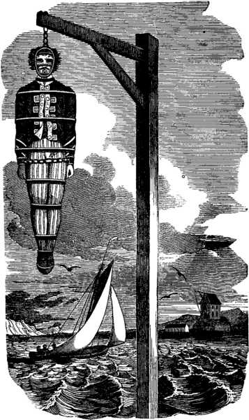 Hanging of WIlliam Kidd. 1837.  Source  THE PIRATES OWN BOOK, BY CHARLES ELLMS . Image courtesy of  WIKIMEDIA COMMONS.