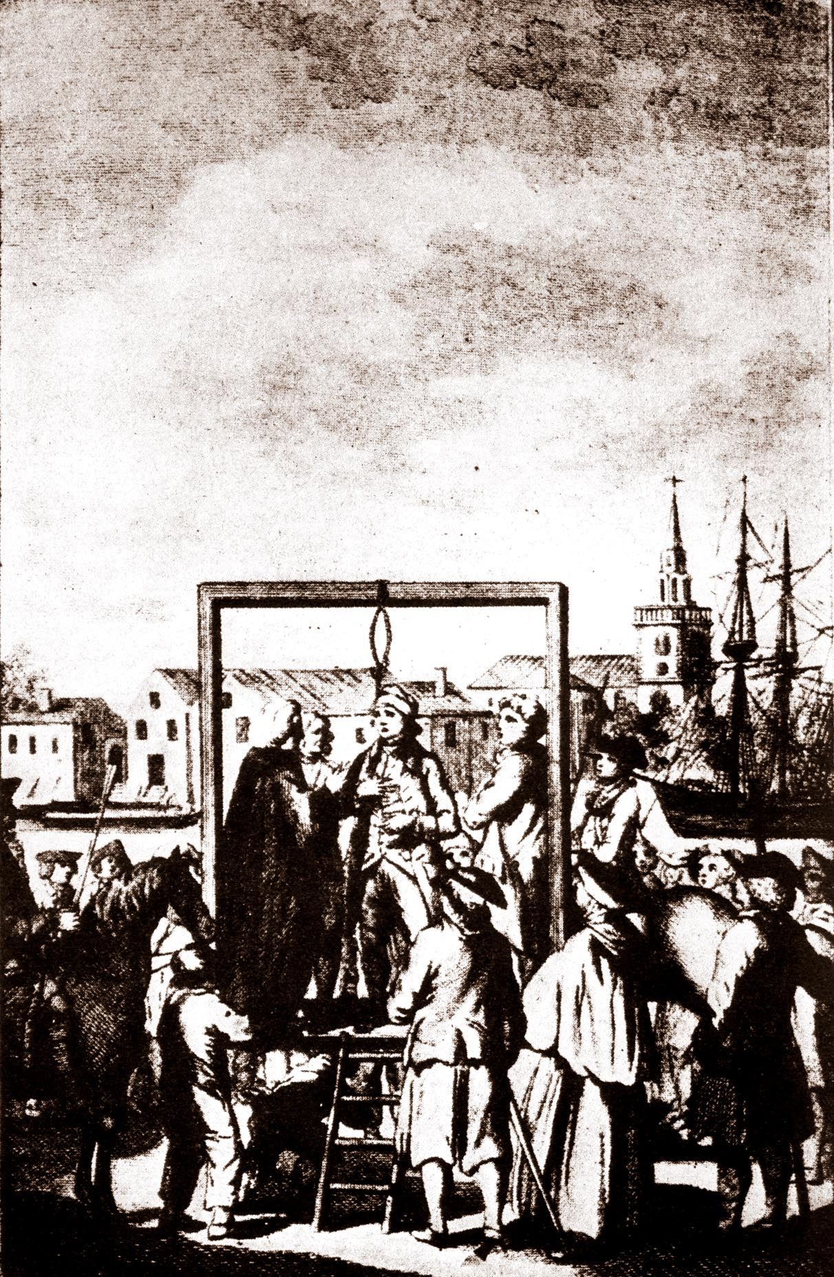 Depiction of a hanging at Execution Dock.  https://commons.wikimedia.org/wiki/File:Executiondock.jpg?uselang=en-gb