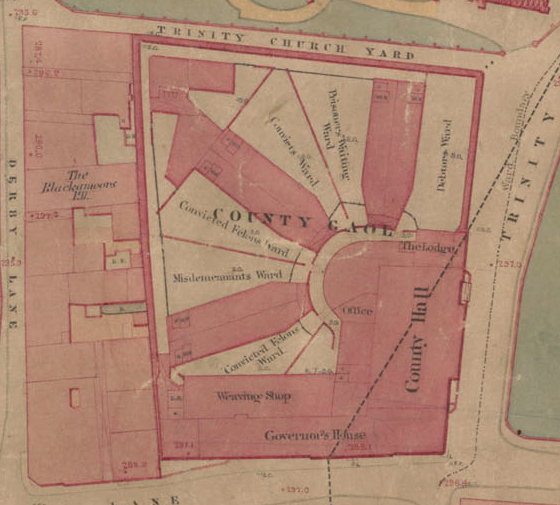 Coventry Gaol, Board of Health Map, 1851. Coventry Gaol was built in 1831 to replace the decrepit Old Bridewell. It was from here Mary Ann began her last journey to Whitley Common, the site of the gallows.