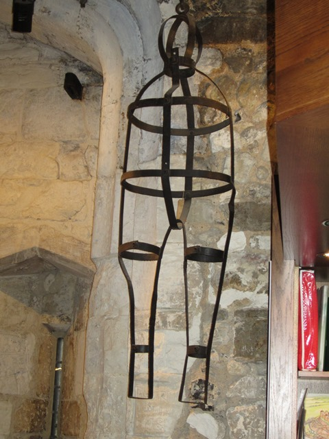 A gibbet cage – this one, at Winchester Museum, holds the body securely while allowing it to be clearly seen.