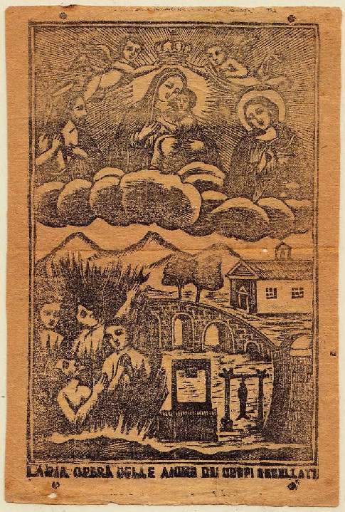 Ancient lithography representing the elements of devotional practices towards the holy souls of the executed in Sicily.