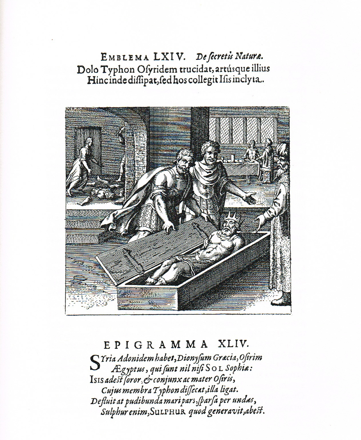 Osiris is dismembered and put back together again by Isis. Source: Michael Maier. Atalanta Fugiens (1617).