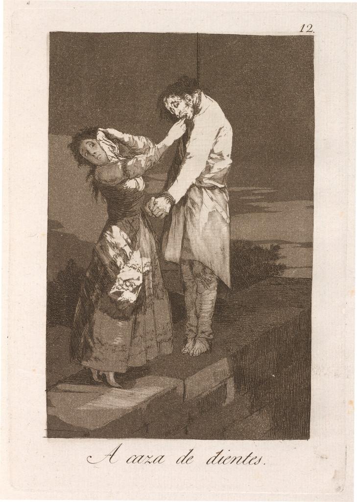 Title: A caza de dientes (Out Hunting for Teeth), 1799, Francisco Goya (1746–1828). Francisco Goya [Public domain], via Wikimedia Commons.]