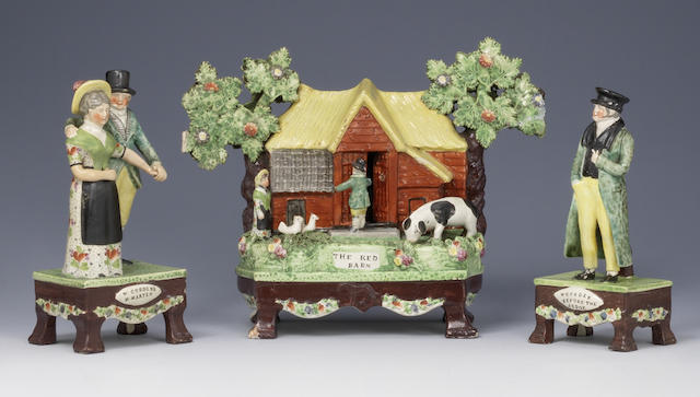 The Red Barn Murder: A rare group of three Staffordshire models circa 1828 - sold at  Bonhams Auction for £11,760  inc. premium. Image courtesy of Bonhams.