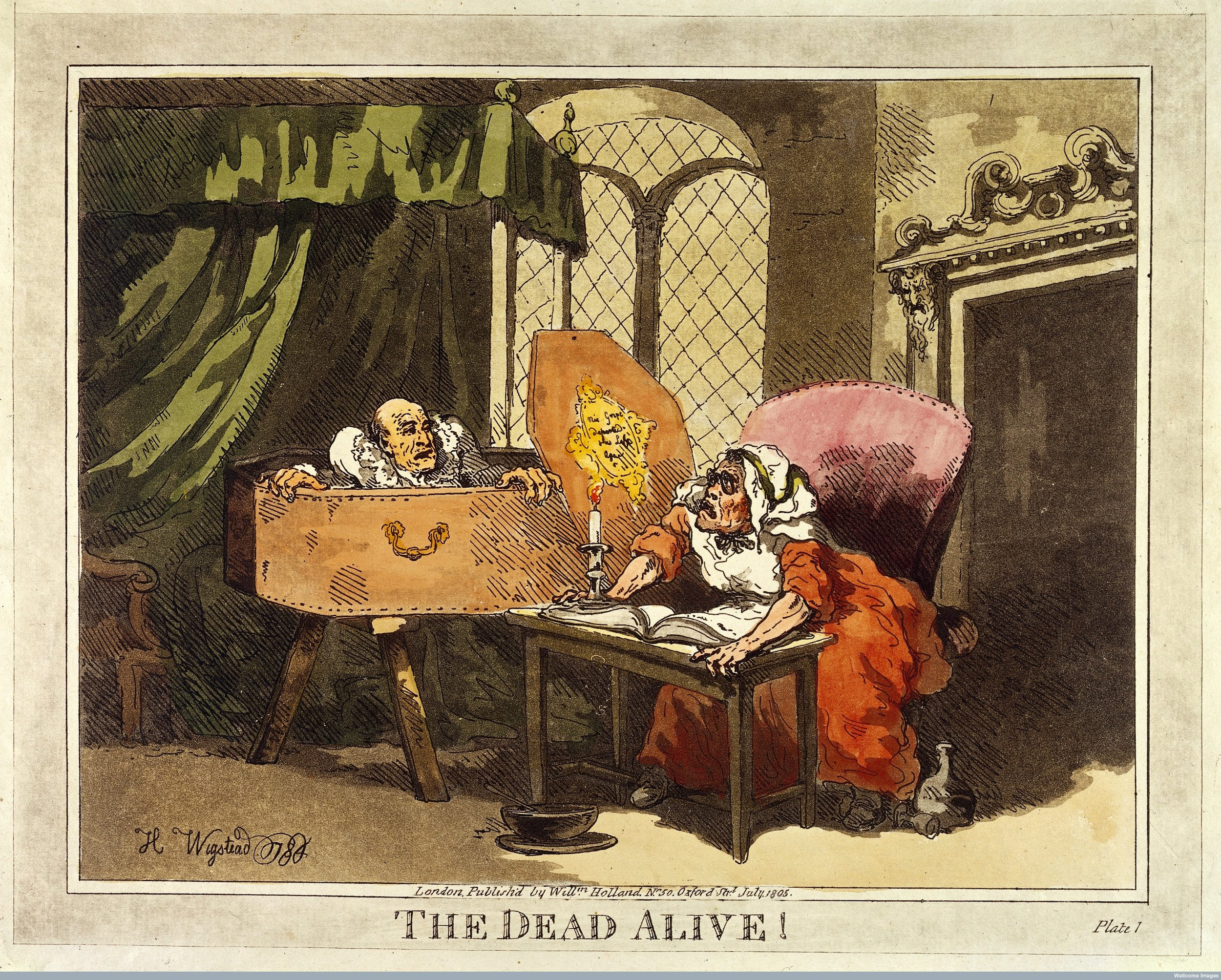A man supposed to be dead arising from his coffin and surprising his wife (?). Coloured aquatint, 1805, after a drawing by Henry Wigstead, 1784.       W     ellcome Images     L0031335