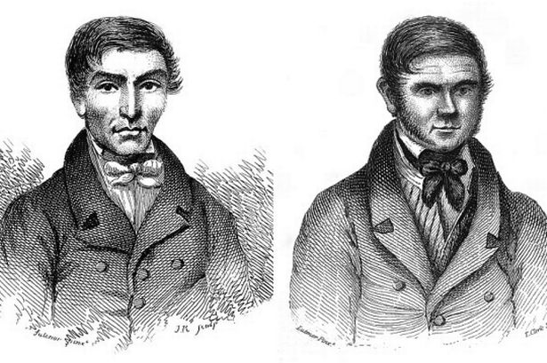 Portraits of serial killers William Hare and William Burke circa 1850. Image courtesy of  Wikimedia Commons