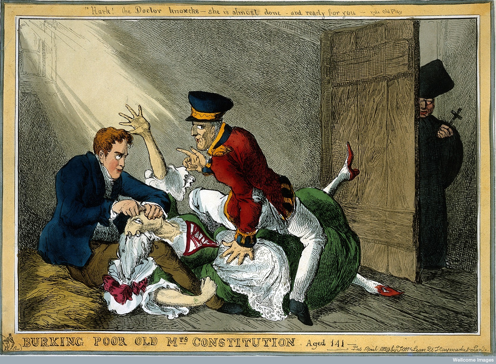 Burke and Hare suffocating Mrs Docherty for sale to Dr. Knox; satirizing Wellington and Peel extinguishing the Constitution for Catholic Emancipation.  Wellcome Images  L0019663