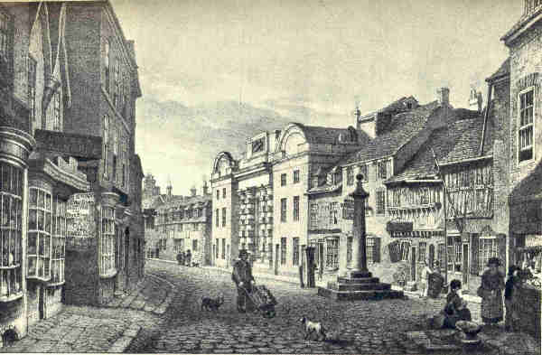 Old Leicester Gaol, High Cross, Leicester. Circa 1830  Image courtesy of Wikimedia commons.