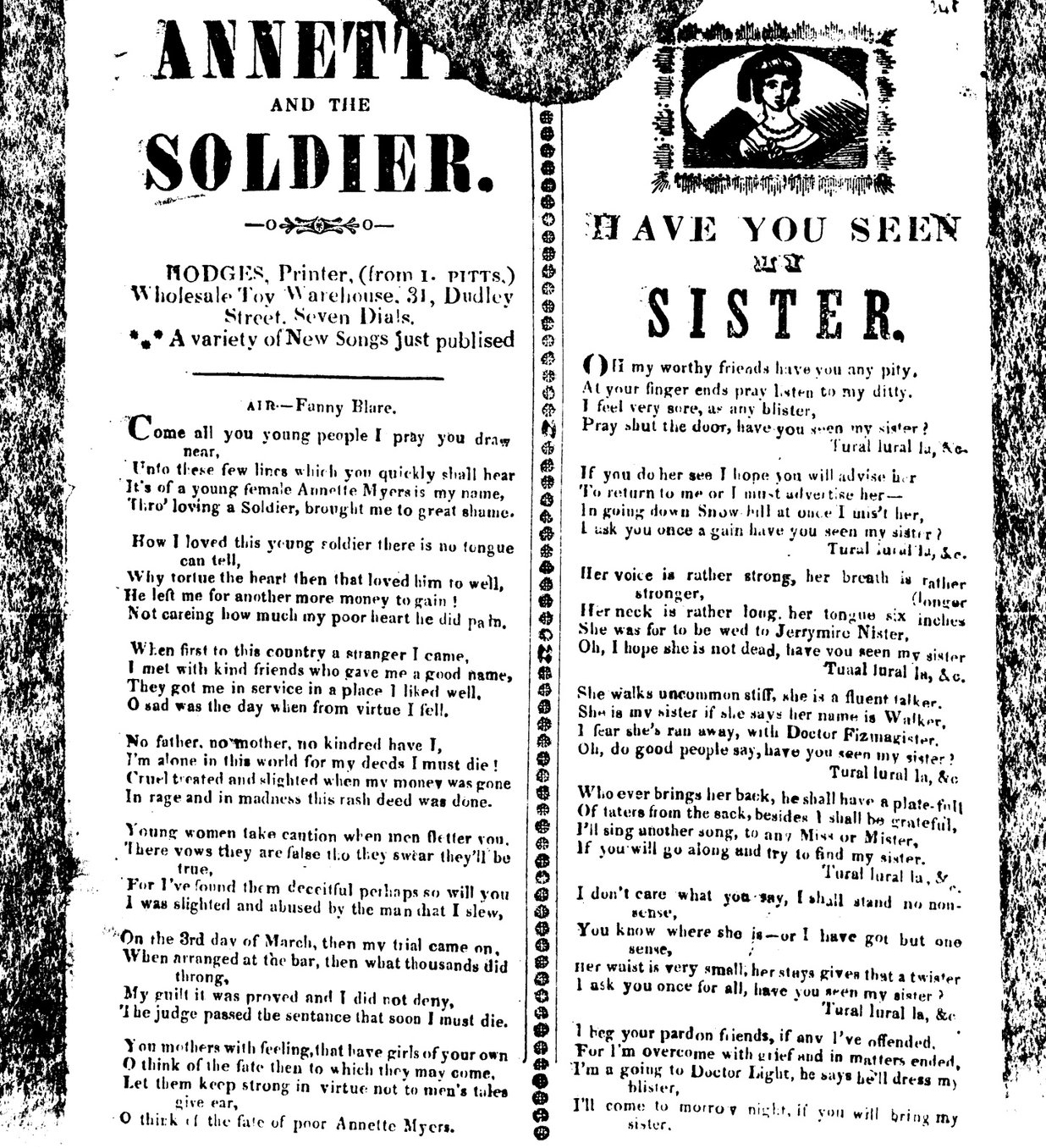 Annette and the soldier. Broadside Ballads Online.  Bodleian Library V5720
