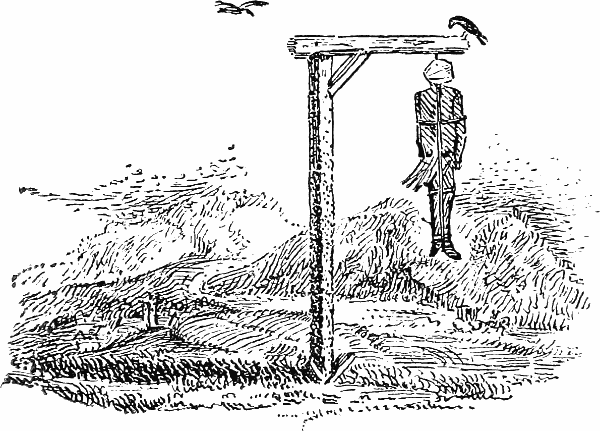Gibbet: from Thomas Bewick's Vignettes (1827).  Newcastle Libraries