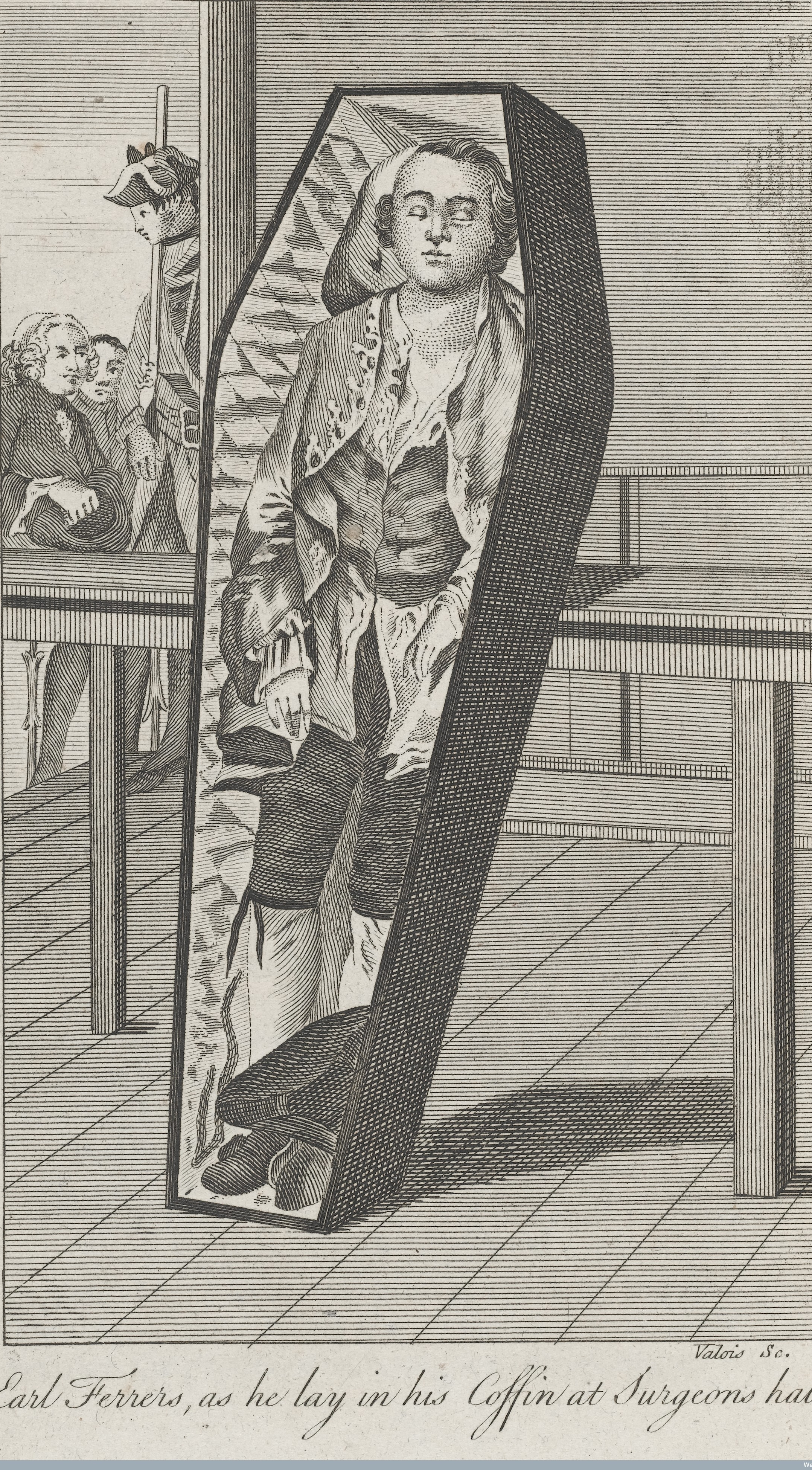 Lord Laurence Earl Ferrers lying in his coffin at the Surgeon's Hall after being hanged for the murder of Mr Johnson his Stewart.  Wellcome Images L0040865