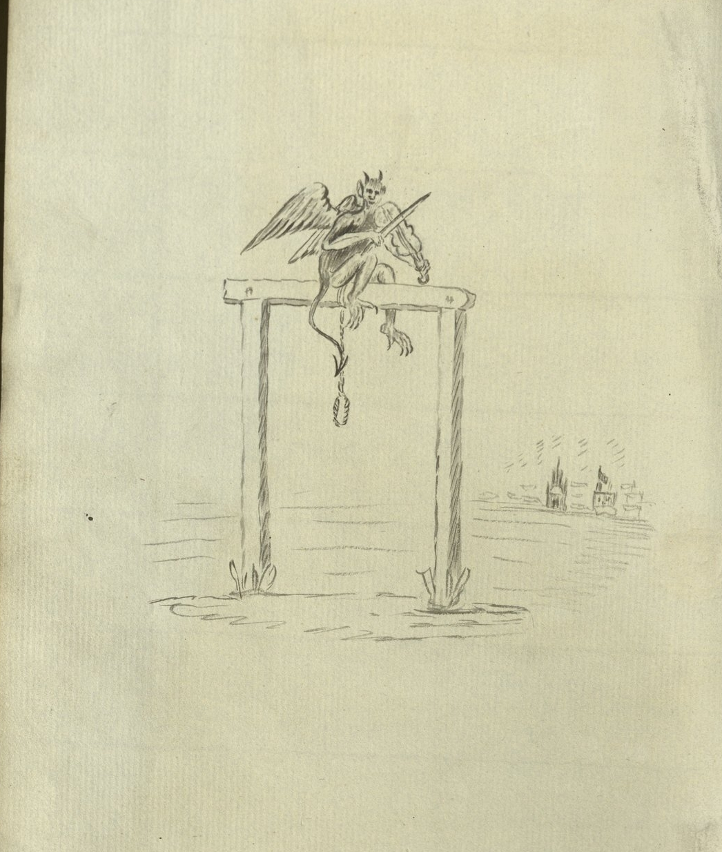 An untitled and undated sketch of the devil sitting atop a gallows. The illustration appears in the pages of the Charles Smith Skin Book at Newcastle Library.