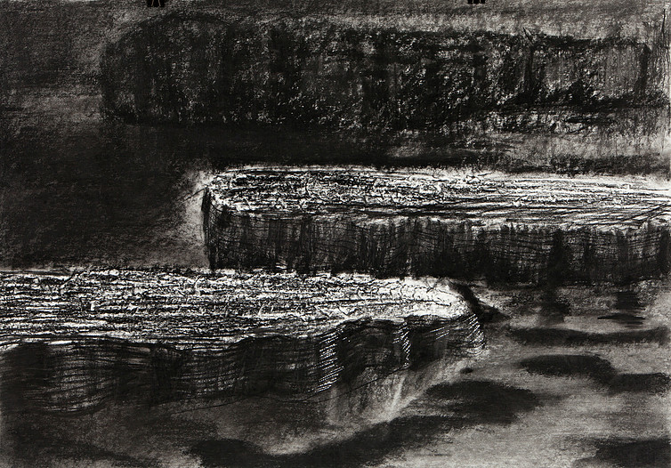 220 x 150 cm. charcoal and Siberian chalk on paper €5.200,-