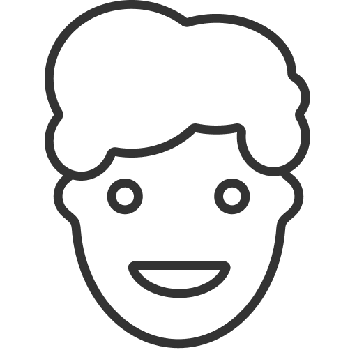 A happy person in a simple cartoon style.