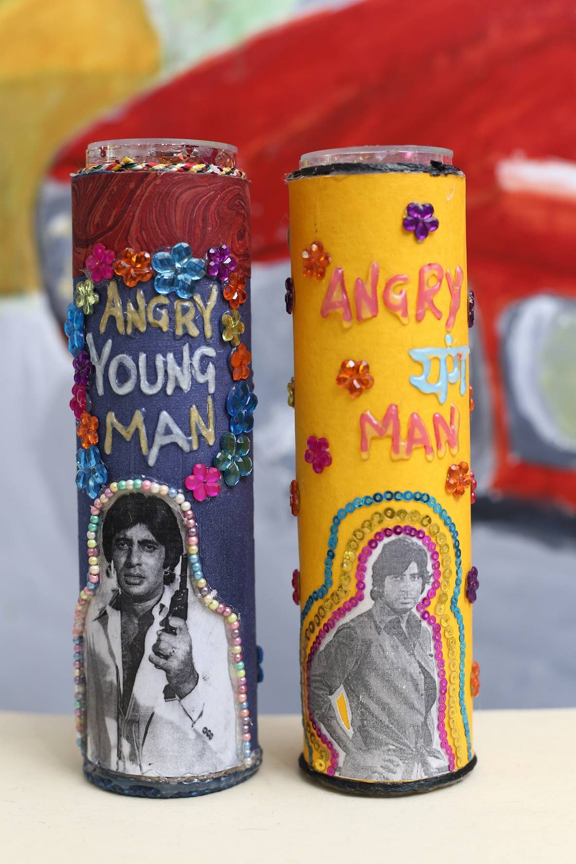 Pieces themed on Bollywood superstar Amitabh Bachchan,the 'Angry Young Man', known so for the sort of roles he played in the height of his career.[Photo via Desna Sharma]