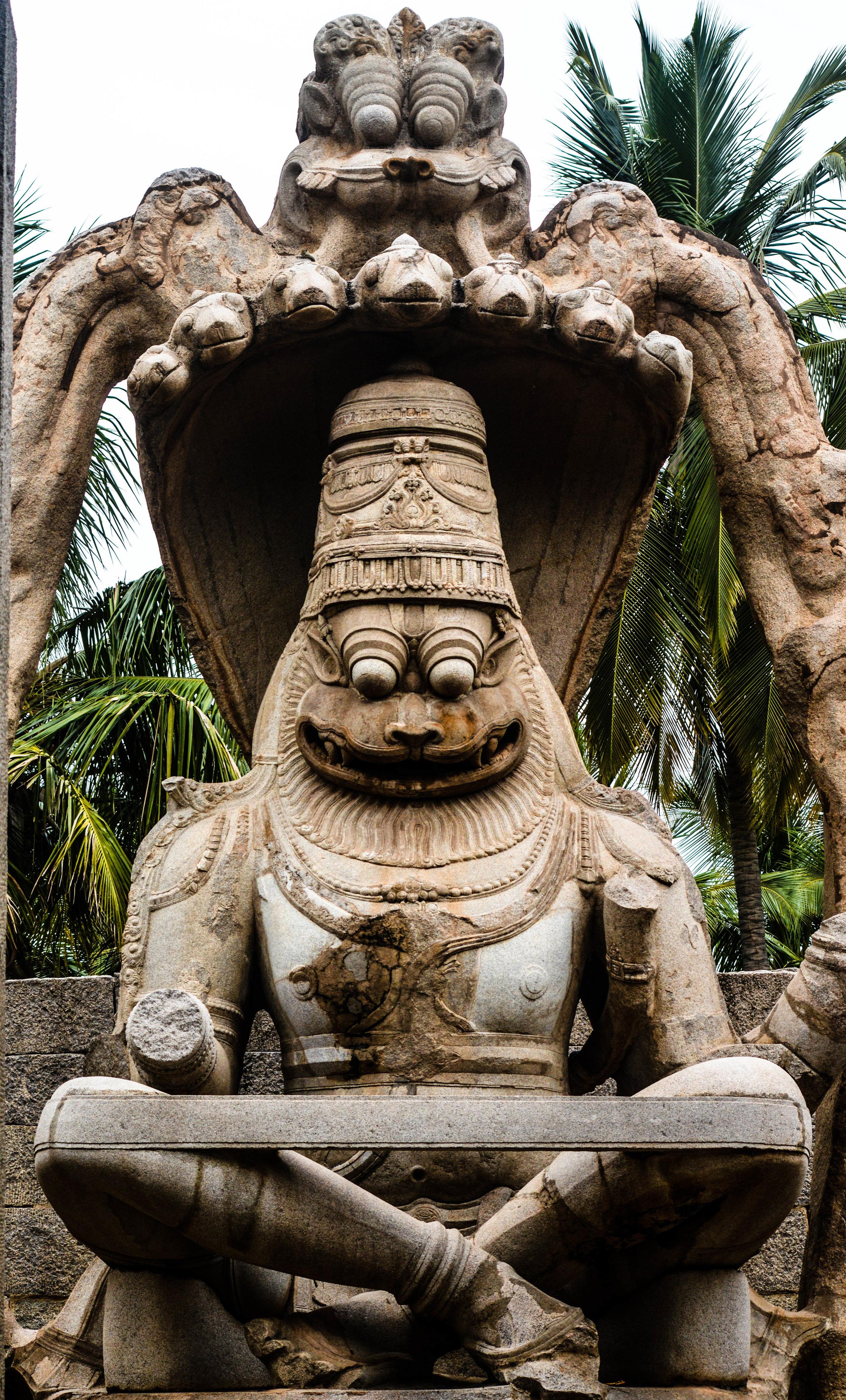 A statue of Ugra Narasimha, one of the incarnations of Lord Vishnu