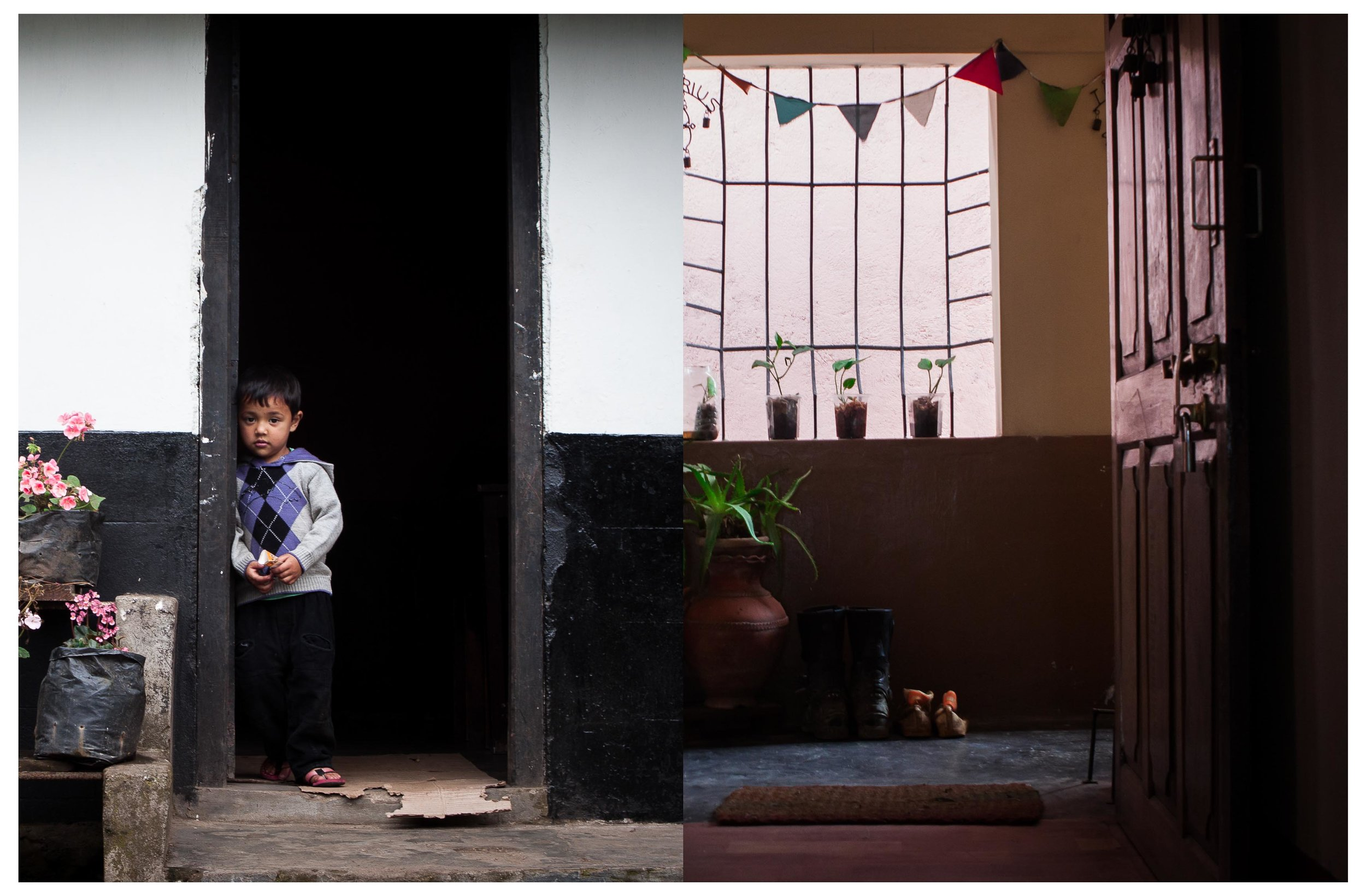 The entrance of two different houses, one  in Shillong, Meghalaya and the other in Kohima, Nagaland;  almost merging together like one.©Tanushree Singh
