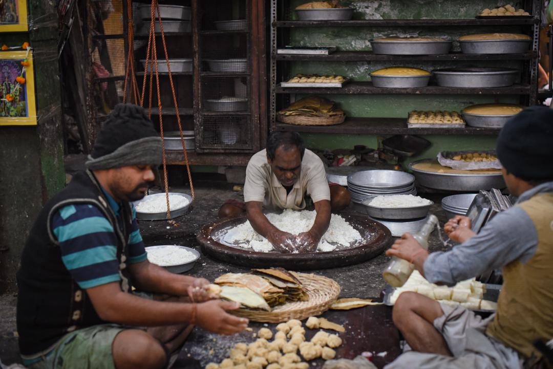 Massive piles of chhena are kneaded for sandesh every morning at    Girish Chandra Dey & Nakur Chandra Nandy.