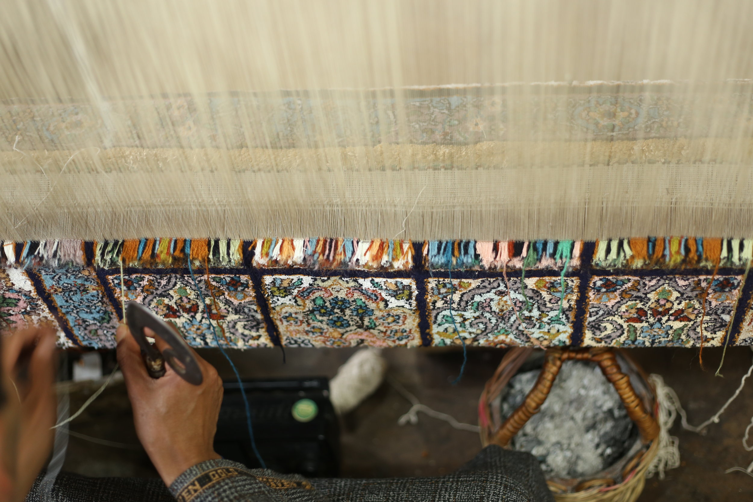 A view of the carpet being made.