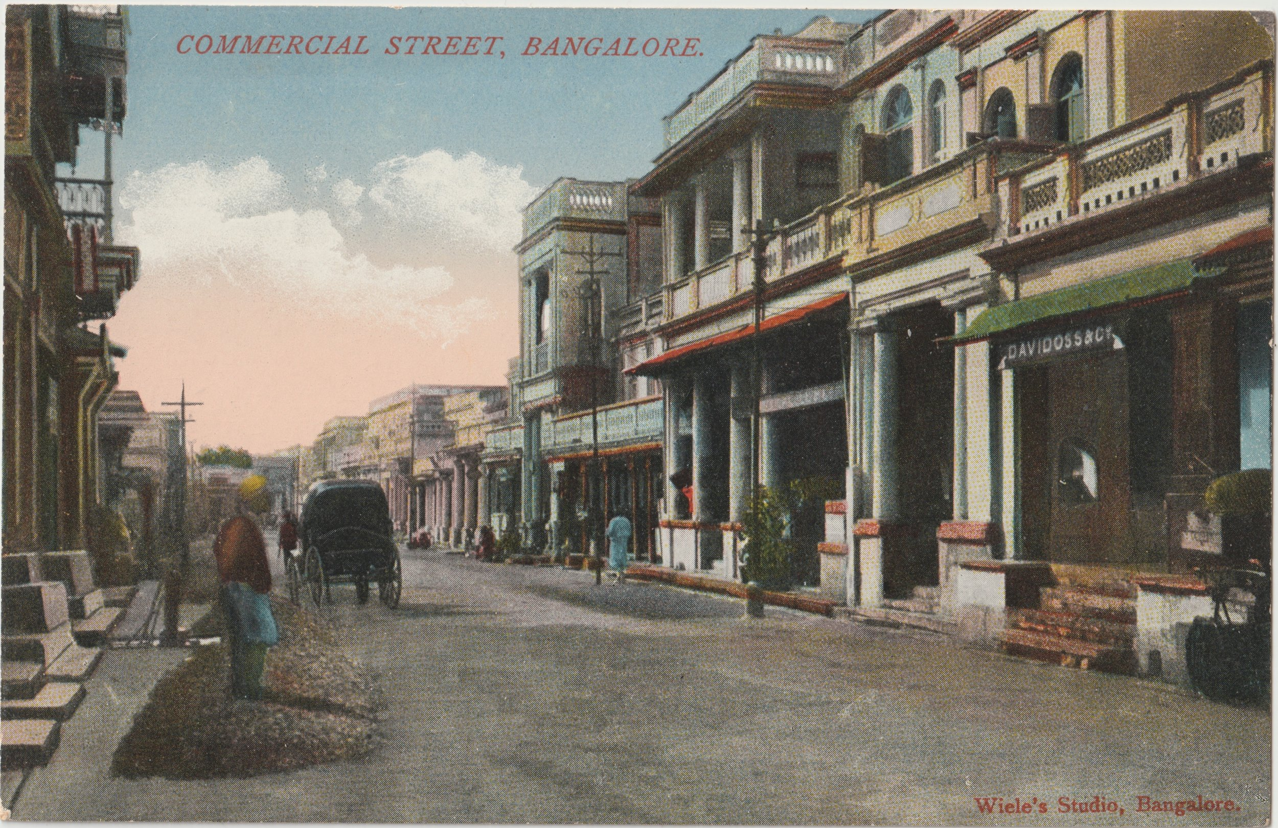 """Commercial Street, Bangalore"". Published by Wiele's Studio, Bangalore. Early 20th century."
