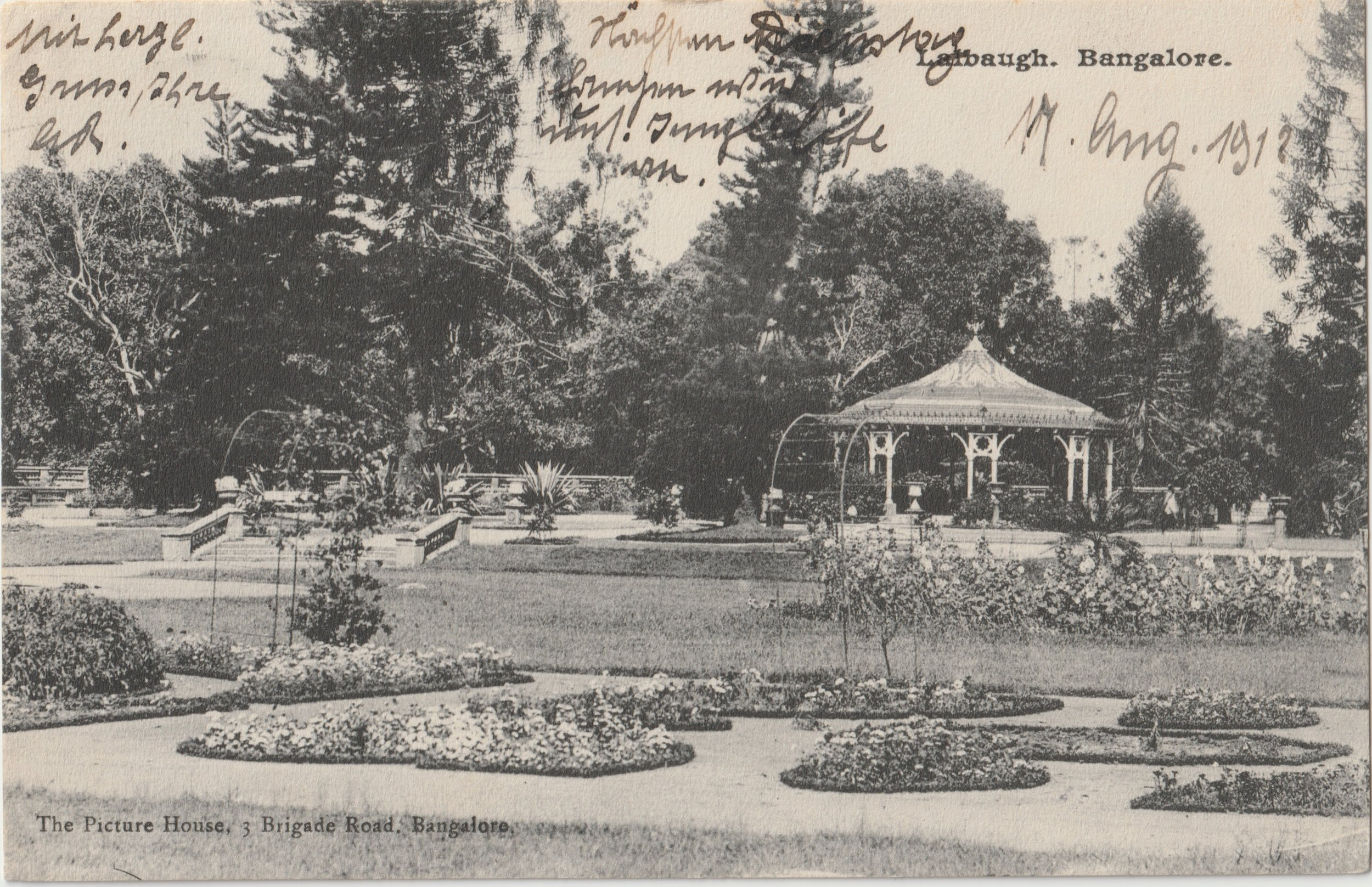 """Lalbaugh, Bangalore"". Published by The Picture House, Bangalore. Posted on: 19.08.1912."