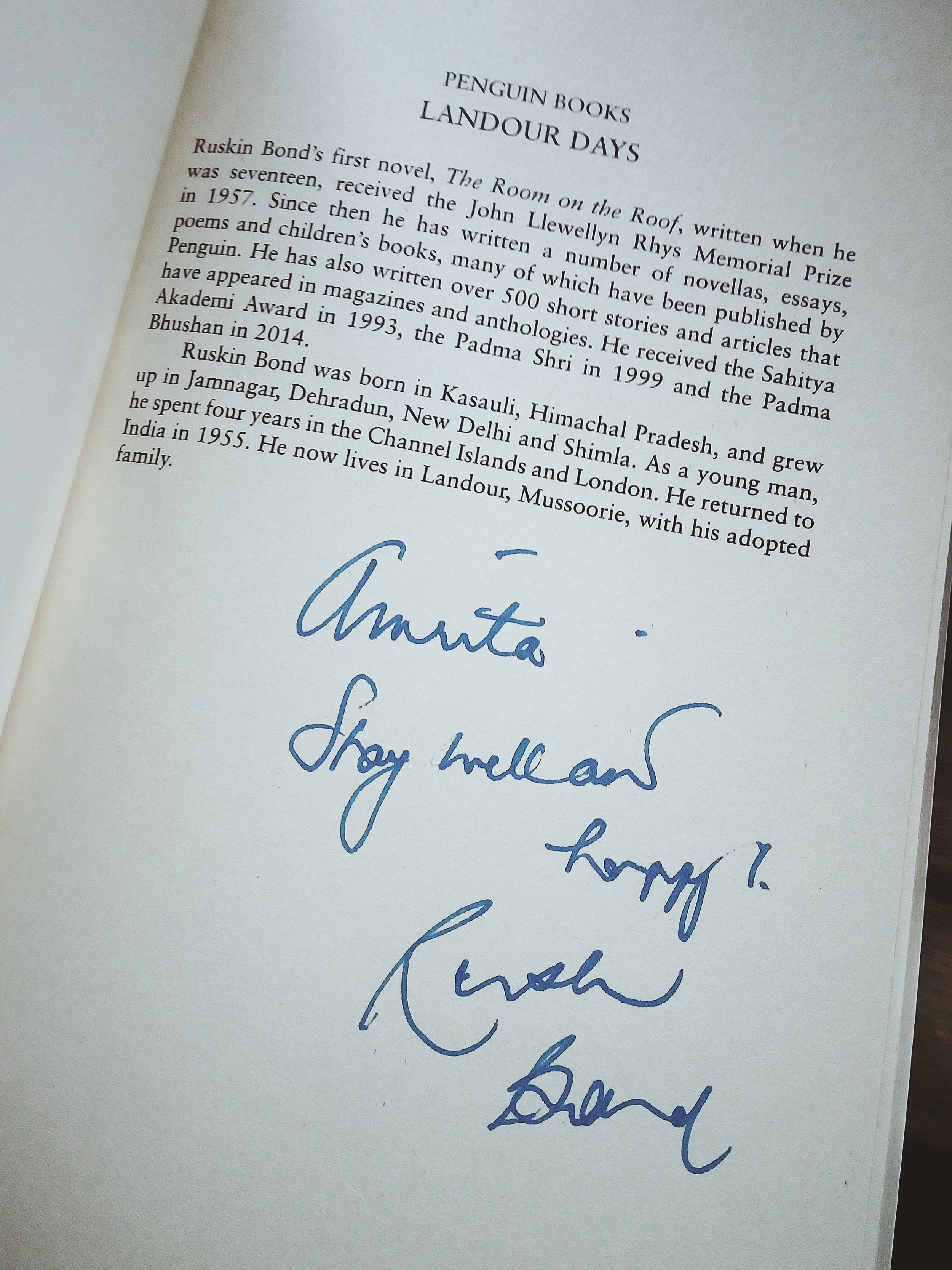 Ruskin Bond's autographed note to the author.