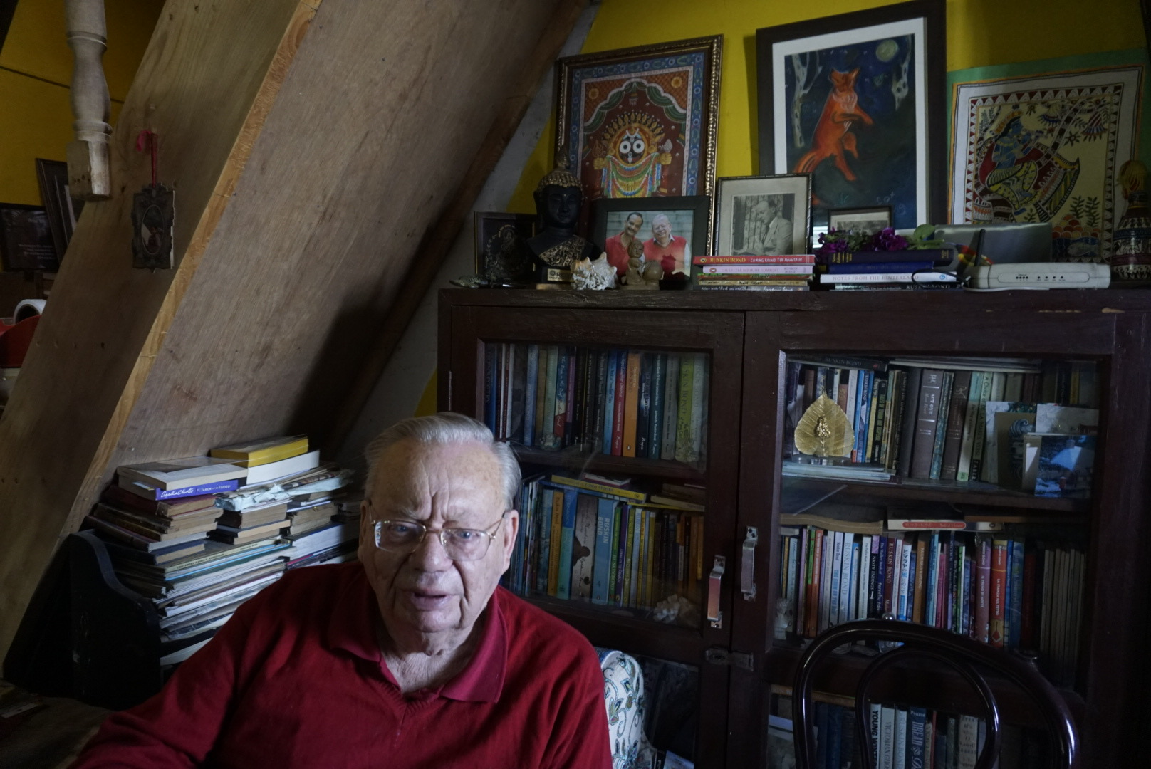 Ruskin Bond in his home in Landour, Mussorie. May 2019.  From TLJ archives