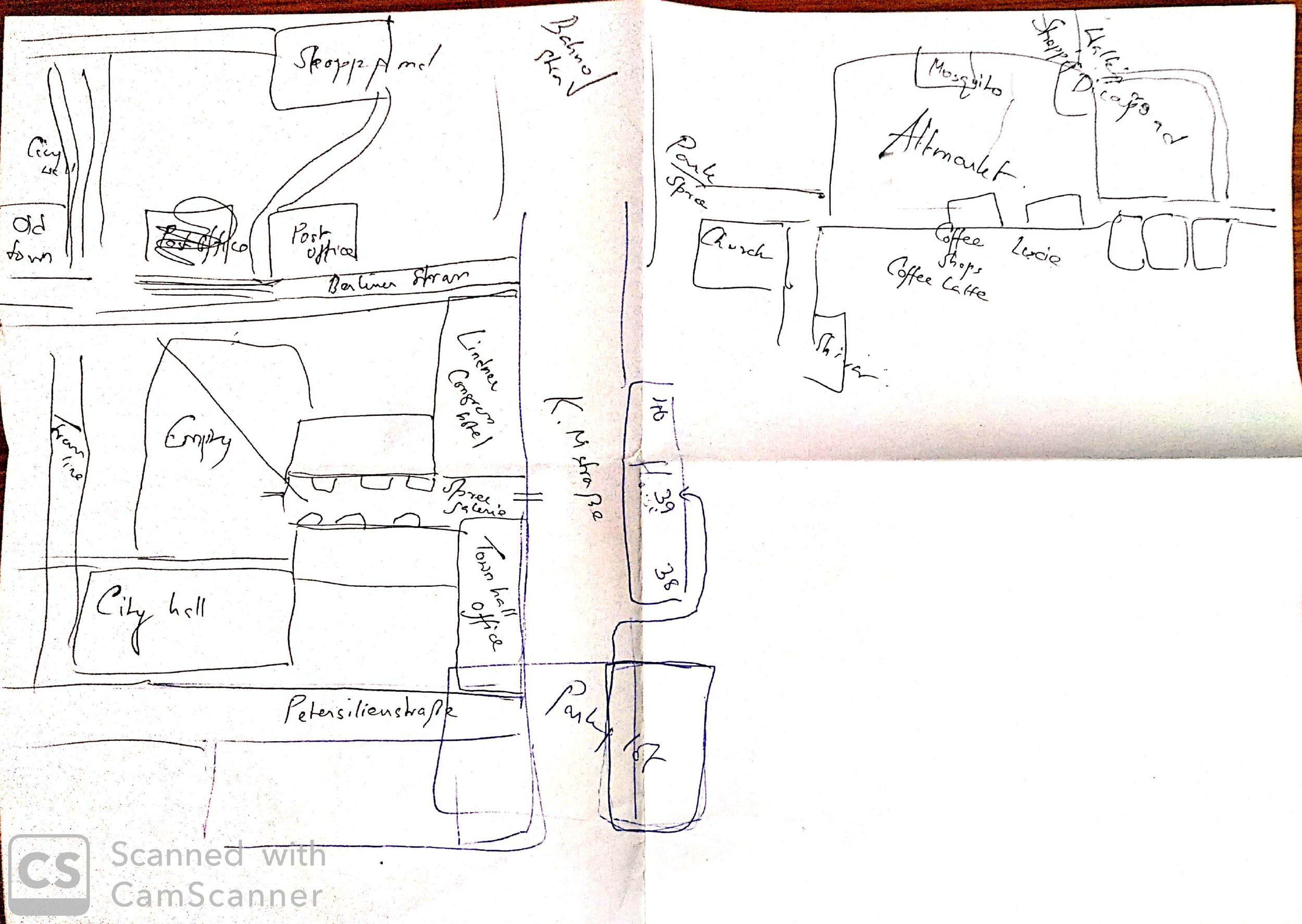 A detailed map of Dresden that my cousin had thoughtfully drawn for me, and which I summarily ignored