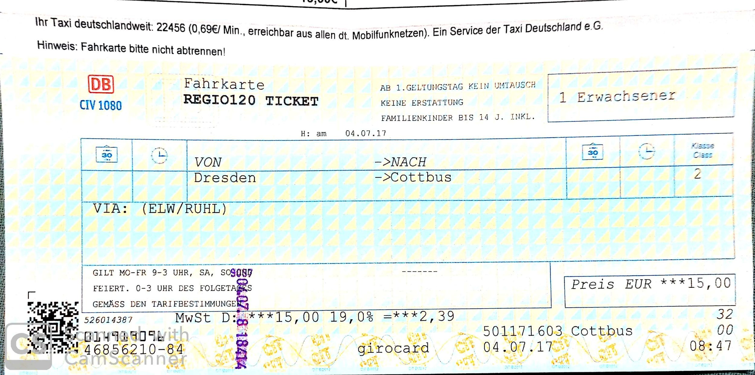 My return ticket from Dresden to Cottbus that saw me safely home