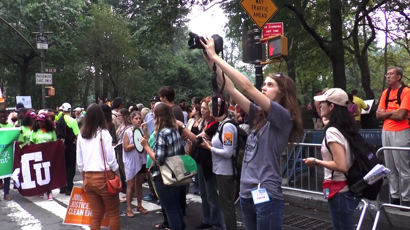 Julia films at the People's Climate March in NYC