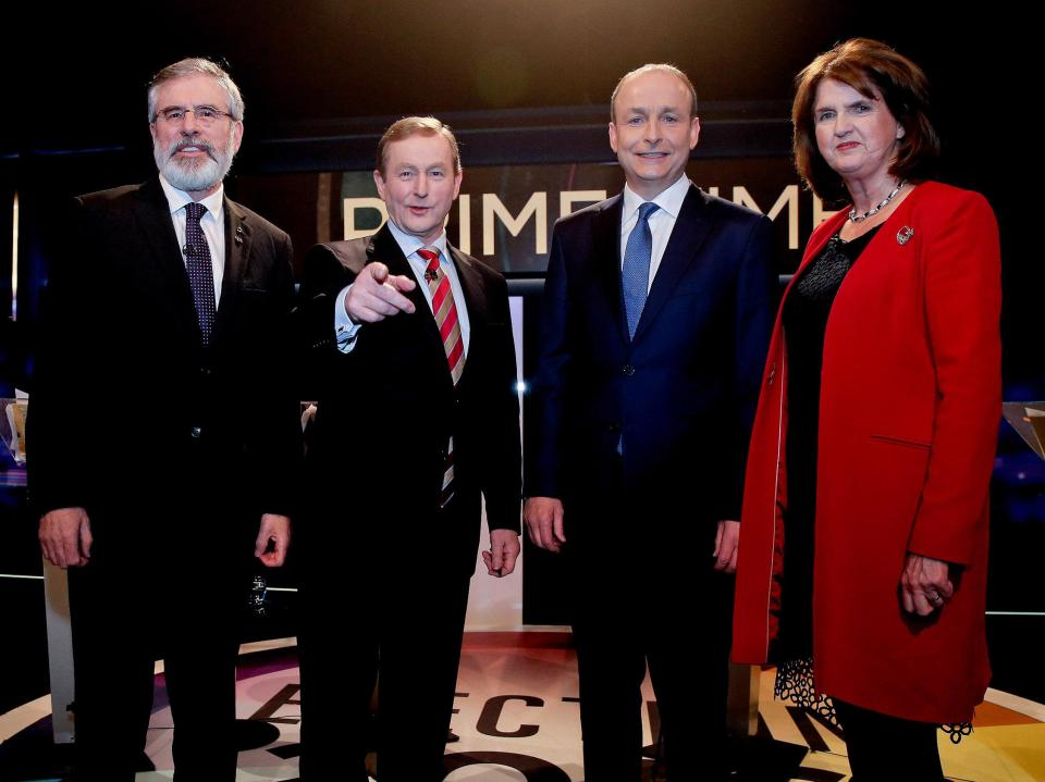 Fein Leader Gerry Adams ,Taoiseach Enda Kenny, Fianna Fail Leader Micheal Martin and  Joan Burton as they lined up for their last TV Debate