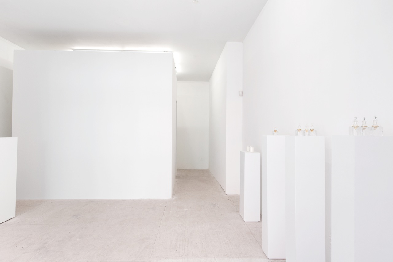 Installation view at Envoy Enterprises. scent chamber, podiums with candles and organic essences