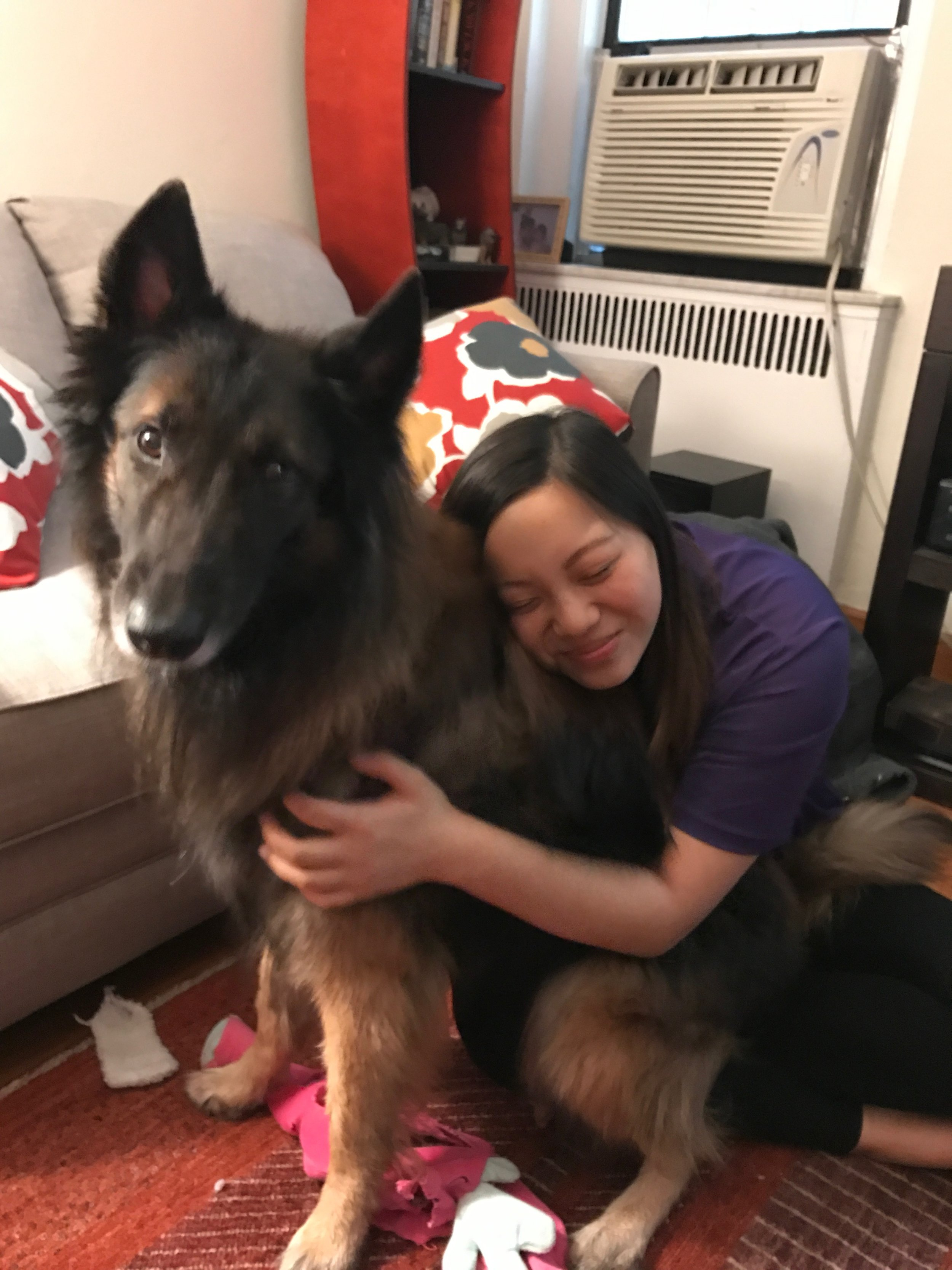 Moki with his doggie-sitter Jessica Lou
