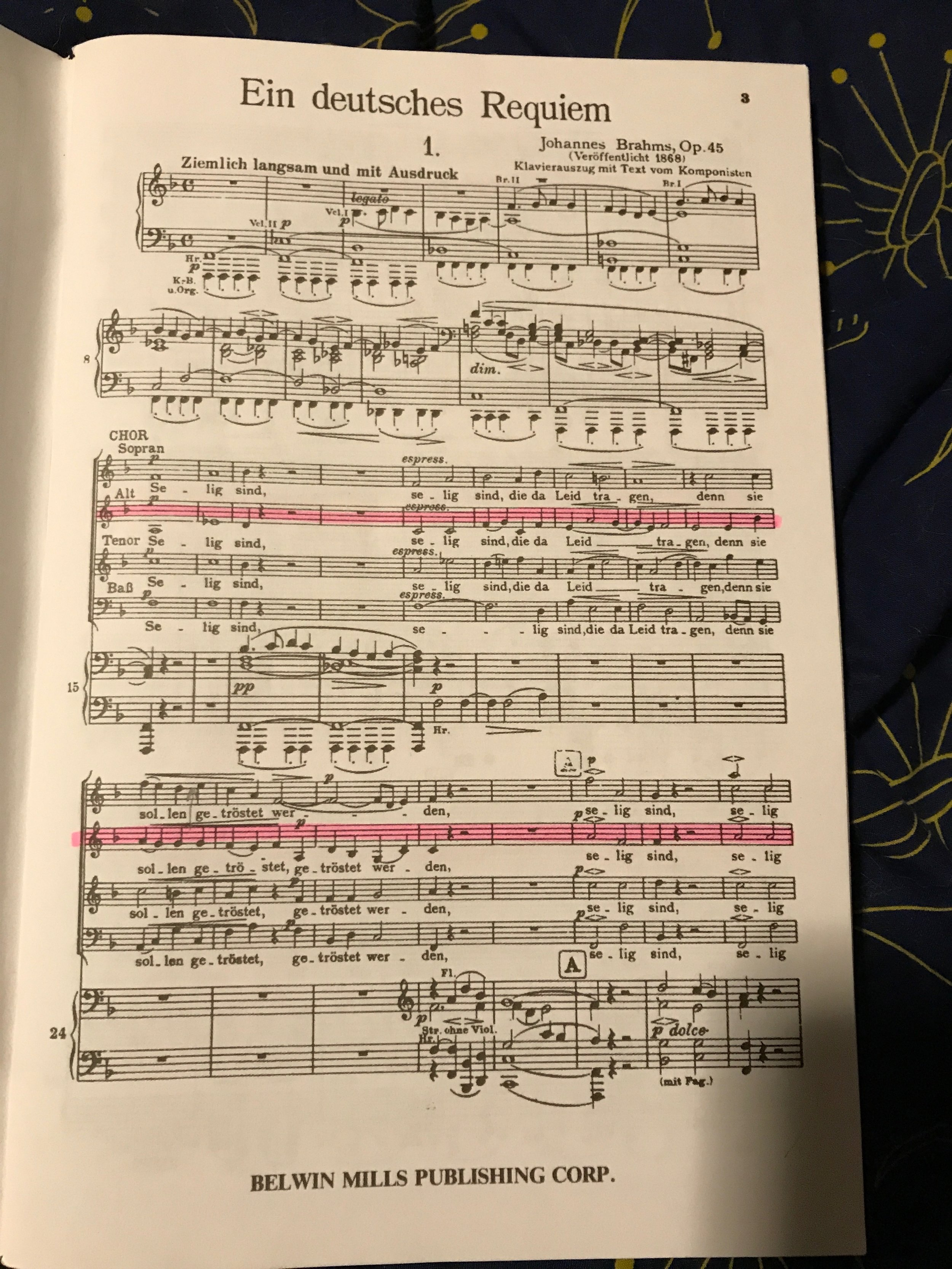Brahms German Requiem -- gorgeous but time consuming to learn!