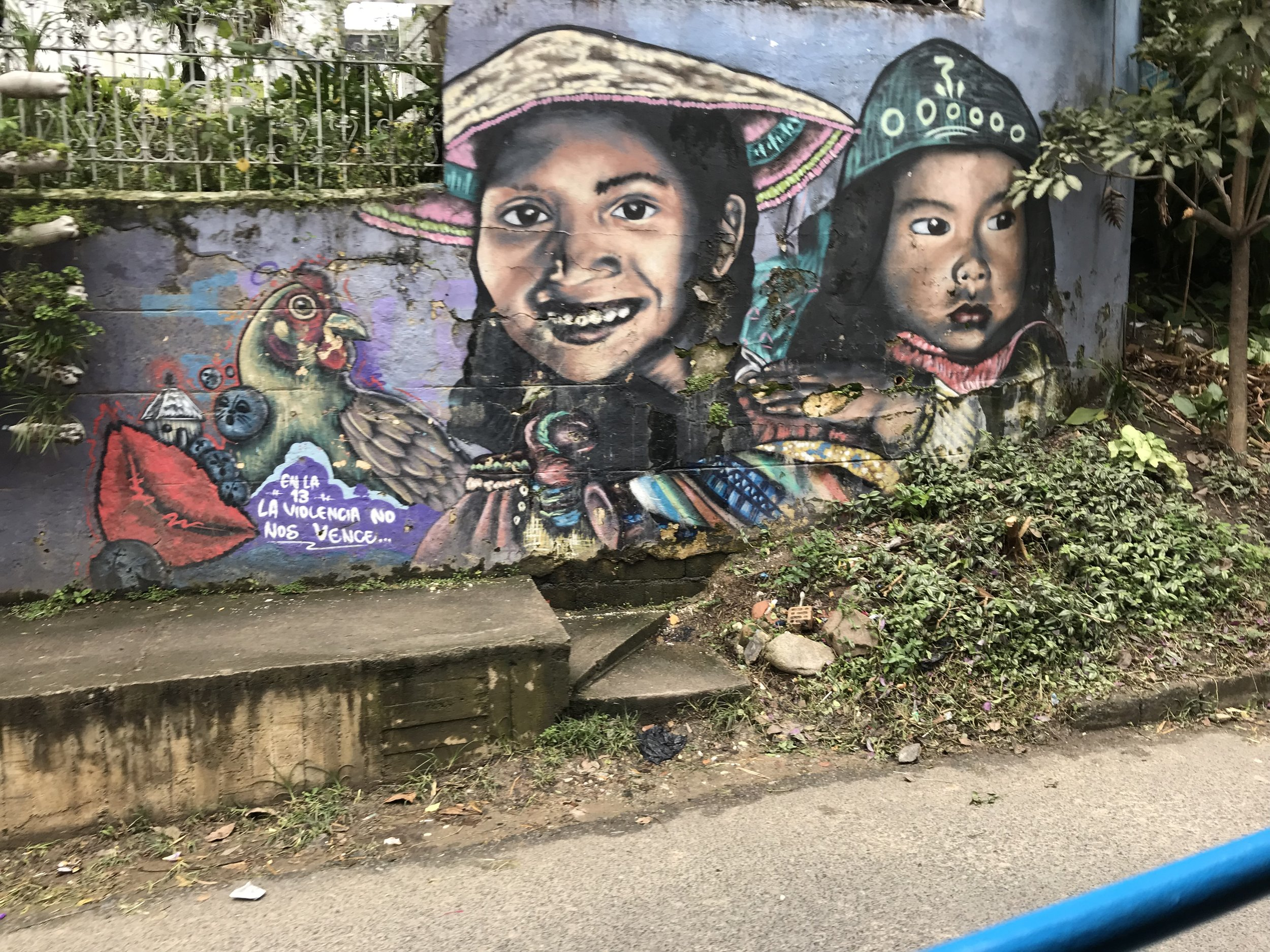 Graffiti honoring the dead in Medellin's Comuna 13